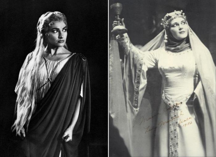 Слева – Мария Каллас в опере В. Беллини *Норма*, 1956 г. Справа – певица  в роли леди Макбет | Фото: top-antropos.com