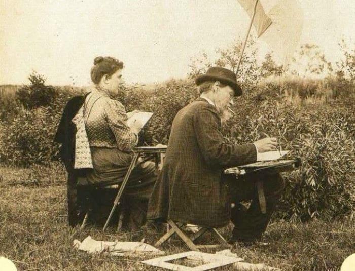М Тенишева и И. Репин на этюдах в Талашкино, 1890-е гг. | Фото: liveinternet.ru