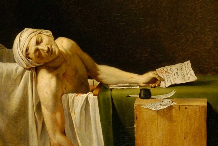 Жак Луи Давид. Смерть Марата, 1793. Фрагмент