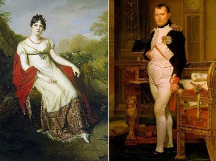 Слева – Фирмен Массо. Портрет Жозефины, 1812. Фрагмент. Справа – Жак-Луи Давид. Портрет Наполеона, 1812