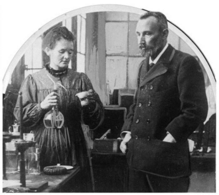 Мари Кюри с мужем Пьером