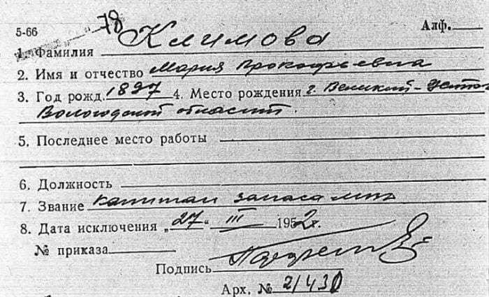 Учетная карточка Марии Прокофьевны Климовой | Фото: retrospectra.ru