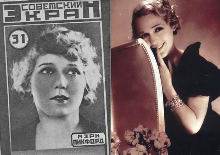 Мэри Пикфорд на обложке журнала *Советский экран*, 1926, и на фото | Фото: kino-teatr.ru