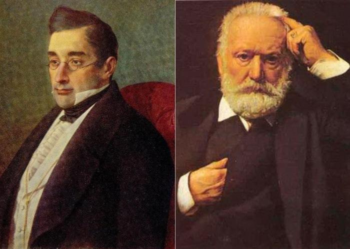 Слева – И. Крамской. Портрет А. С. Грибоедова. Справа – Л. Бонна. Портрет В. Гюго