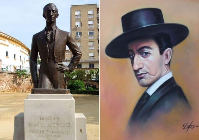 Памятник Манолете в Линаресе, Испания, и его портрет | Фото: world.lib.ru