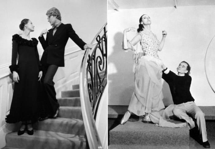 Слева – Плисецкая и Ив Сен-Лоран. Справа – балерина с дизайнером Пьером Карденом на примерке костюмов к балету *Анна Каренина*. Париж, 1972 | Фото: fw-daily.com