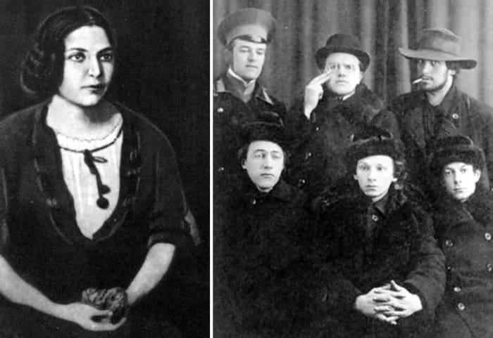 Слева – Софья Шамардина. Справа – Владимир и Давид Бурлюки, Маяковский и Хлебников (слева внизу) | Фото: blog.t-s.by