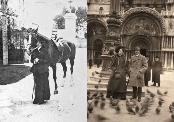 Слева – Мерседес, 1905 г. Справа – Мерседес Еллинек и ее муж, Карл фон Шлоссер, в Венеции, 1909 | Фото: mercedes-benz.com.vn и locomotions.ru