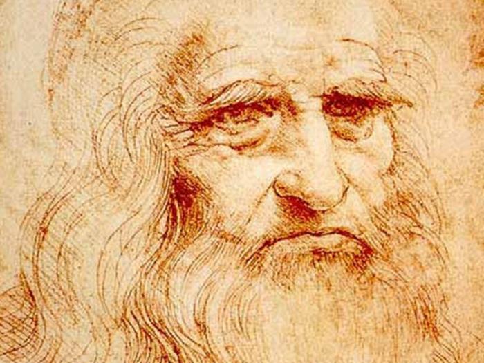 Леонардо да Винчи. Автопортрет, 1512 г. Фрагмент