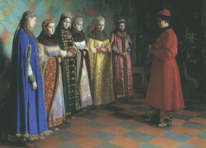 Седов Г. Выбор невесты царем Алексеем Михайловичем, 1882 | Фото: kavery.dreamwidth.org