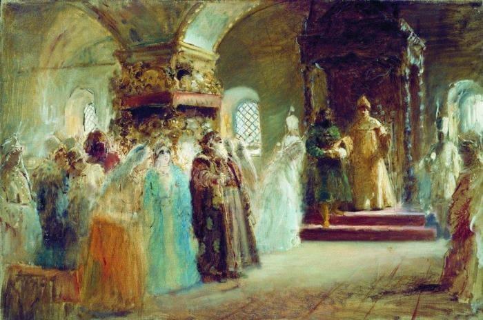 Маковский К. Выбор невесты царем Алексеем Михайловичем, 1887 | Фото: artchive.ru