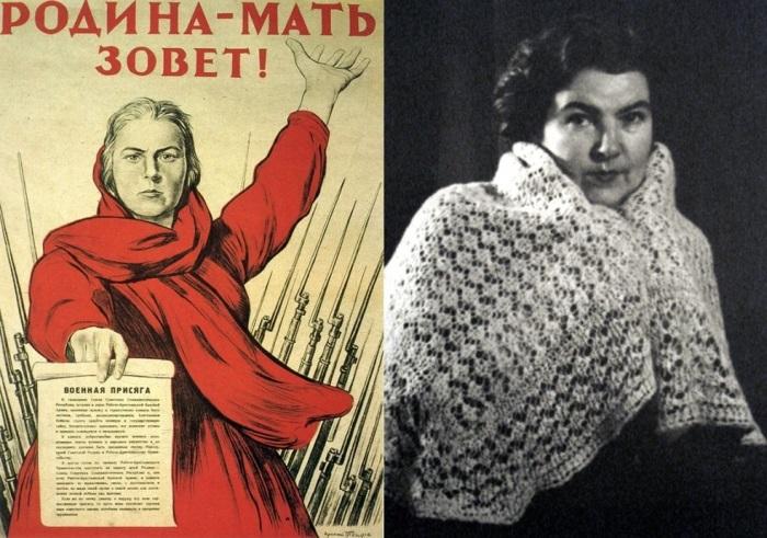 Плакат *Родина-мать зовет!* и прототип образа матери – Тамара Тоидзе | Фото: anews.com
