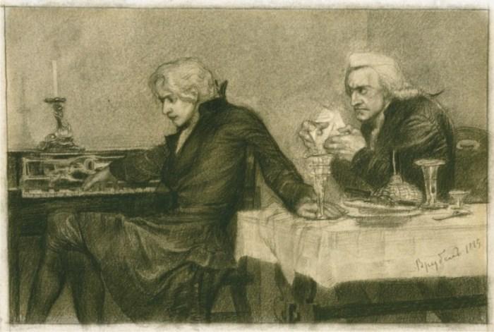 Иллюстрация М. Врубеля к трагедии А. Пушкина *Моцарт и Сальери*