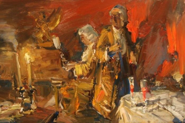 П. Кондрашов. Моцарт и Сальери. Эскиз к картине, 2011