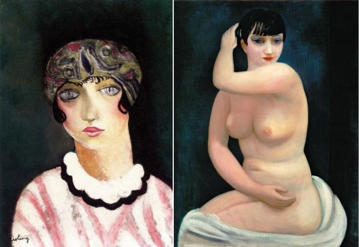 М. Кислинг. Слева – *Кики с Монпарнаса*, 1924. Справа – *Кики с Монпарнаса*, 1927