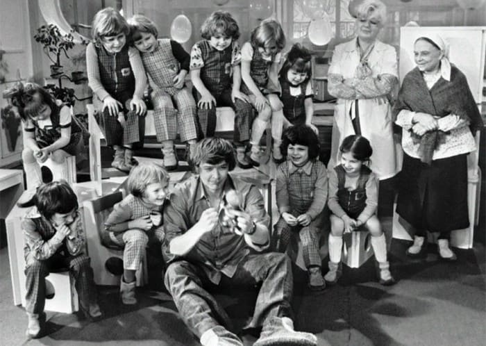 На съемках фильма *Усатый нянь*, 1977 | Фото: dubikvit.livejournal.com