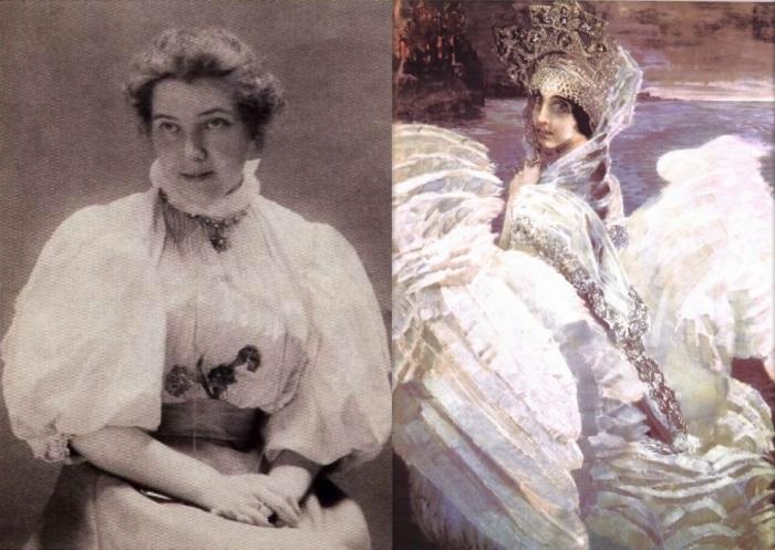 Слева – Н. И. Забела-Врубель, 1897. Справа – М. Врубель. Царевна-Лебедь, 1900 | Фото: wroubel.ru