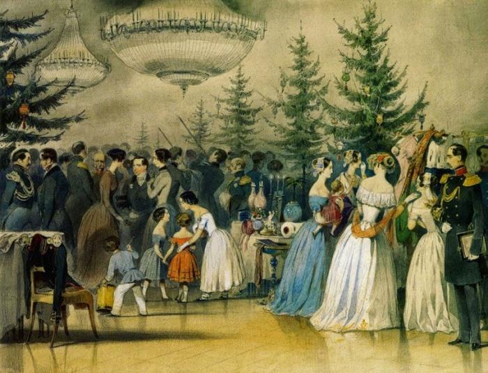 А. Чернышов. Рождественская елка в Аничковом дворце