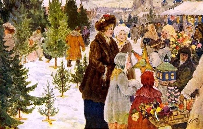 А. Бучкури. Рождественский базар, 1906