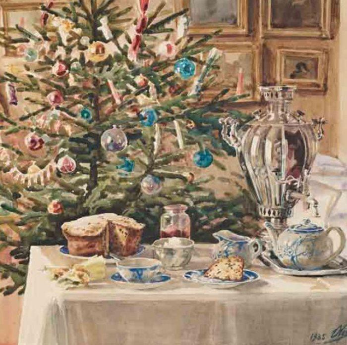 О. Романова. Новогоднее угощение, 1935