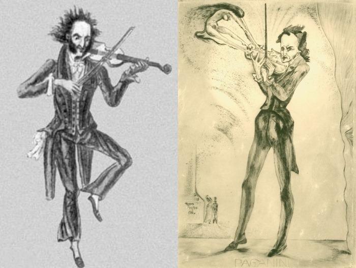 Карикатуры на Никколо Паганини