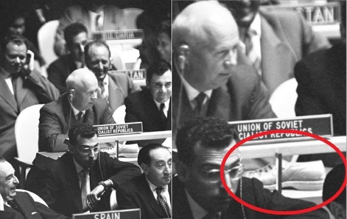 *Ботинок Хрущева* действительно красовался на столе | Фото: pravda-tv.ru и xexe.club
