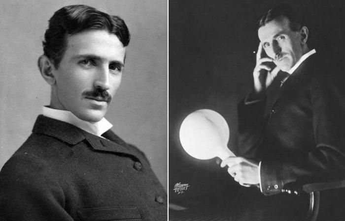Никола Тесла во время одного из экспериментов с электричеством, 1894 и 1898 гг. | Фото: photochronograph.ru