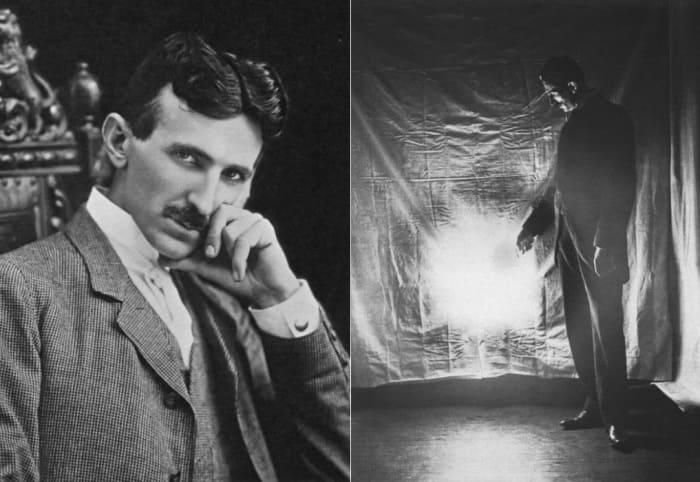Ученый в 1904 г. и во время одного из экспериментов с электричеством, 1898 | Фото: photochronograph.ru