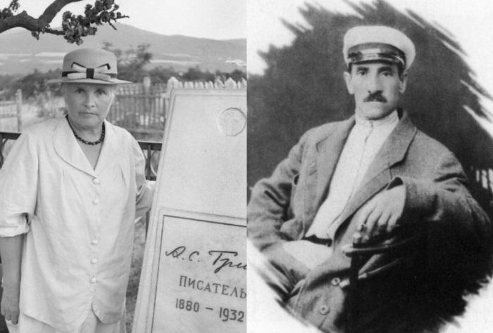 Слева – вдова писателя у могилы Грина, 1960-е гг. Справа – А. Грин | Фото: grinlandia.narod.ru