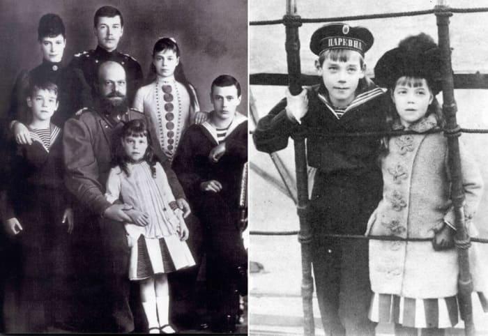 Слева – император Александр III со своей семьей. Справа – Ольга Александровна с братом | Фото: liveinternet.ru