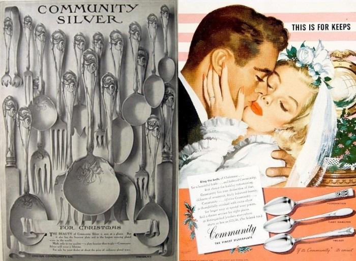 Столовое серебро *Oneida Ltd* и его реклама начала ХХ в. | Фото: atticpaper.com и amazonaws.com