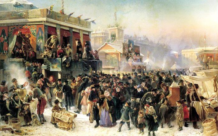 К. Маковский. Народное гуляние во время Масленицы на Адмиралтейской площади в Петербурге, 1869