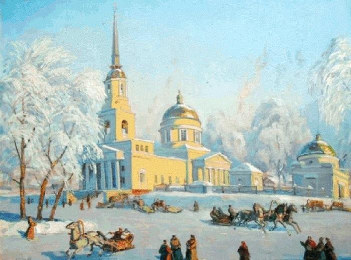 В. Белых. Собор Александра Невского. Масленица, 1908