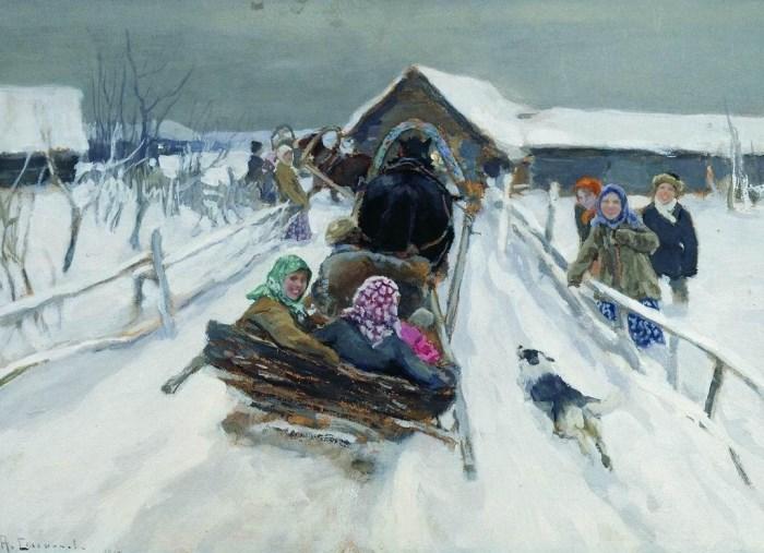 А. Степанов. Катание на Масленицу, 1910