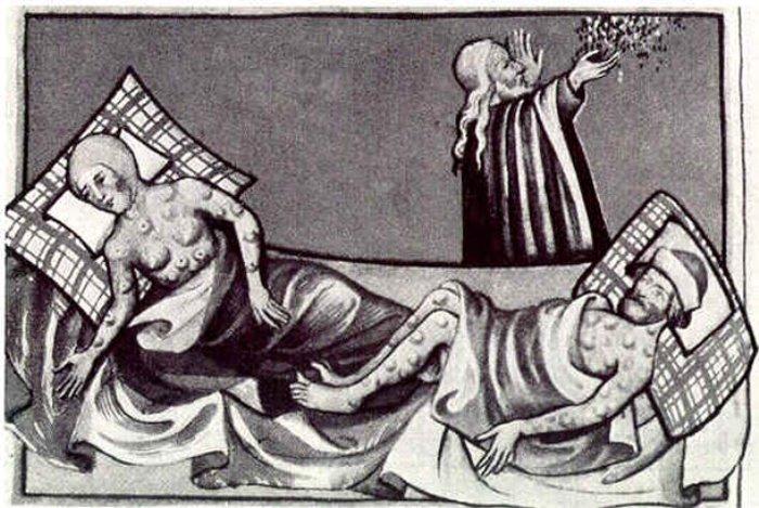 Бубонная чума. Иллюстрация 1411 г.