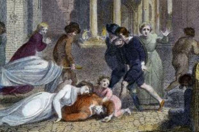 Сцена смерти и отчаяния на лондонской улице во время чумы. Гравюра 1810 года