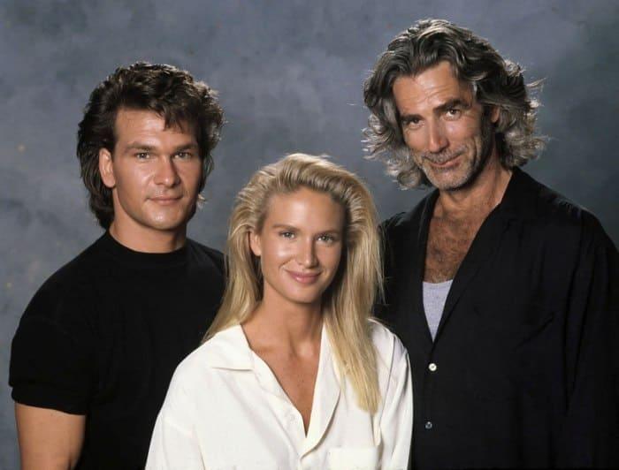 Патрик Суэйзи, Келли Линч и Сэм Эллиотт во время съемок фильма *Дом у дороги*, 1989 | Фото: chtoby-pomnili.net