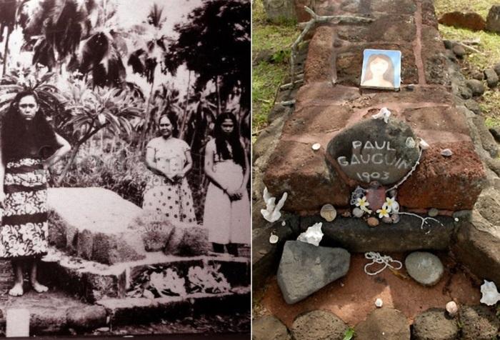 Могила Поля Гогена на кладбище Атуоны на Маркизских островах | Фото: fotodom.ru и mtdata.ru