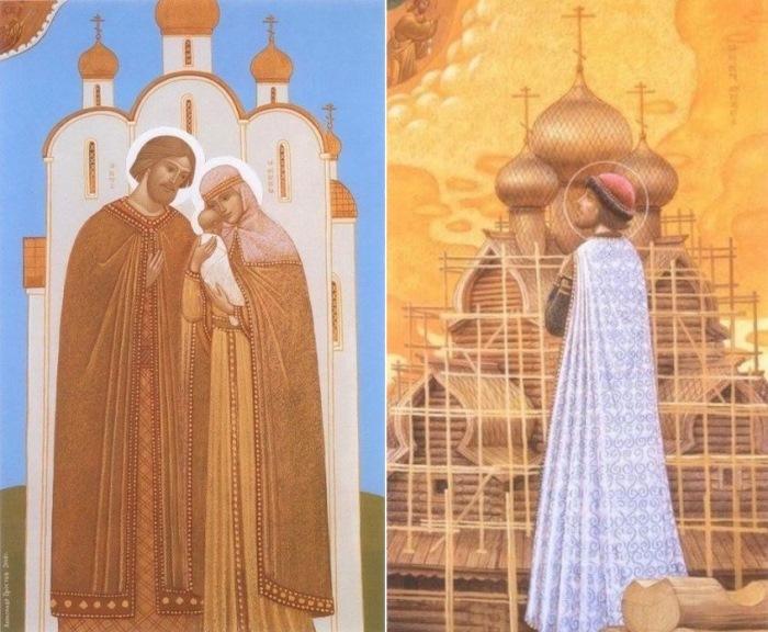 А. Простев. Слева – Семья – малая Церковь. Справа – Князь Петр – строительство храмов