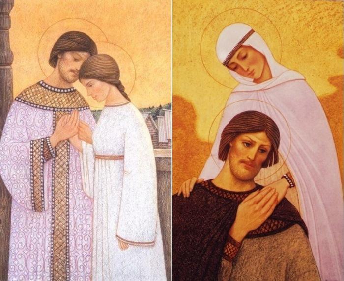А. Простев. Слева – Встреча Петра и Февронии. Справа – Петр и Феврония Муромские