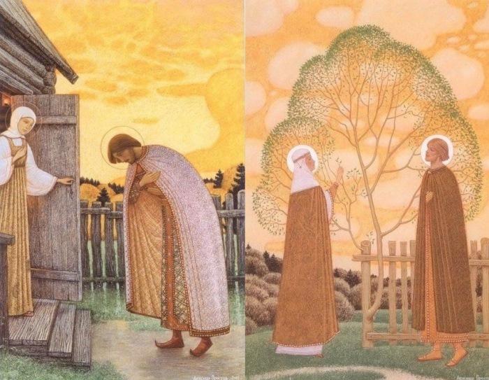 А. Простев. Слева – Прощение. Справа – Петр и Феврония
