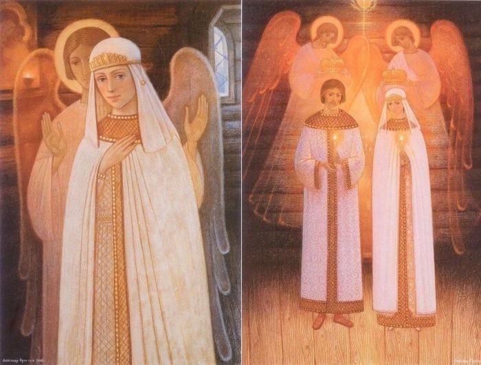 А. Простев. Слева – Феврония невеста. Справа – Венчание князя Петра и Февронии