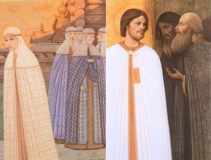 А. Простев. Слева – Зависть боярских жен. Справа – Нашептывание бояр