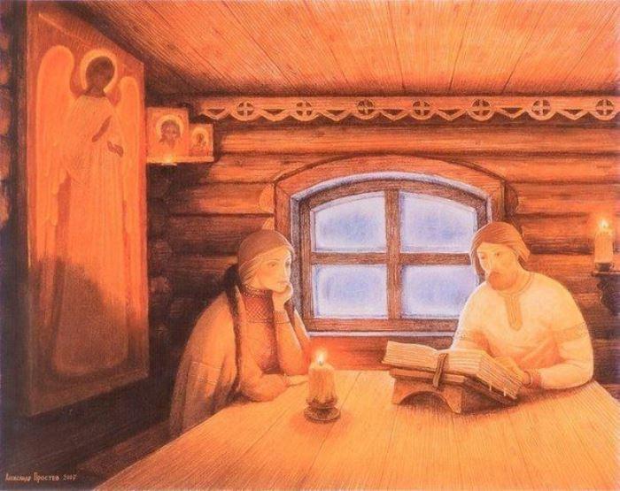 А. Простев. Петр и Феврония за чтением Евангелия