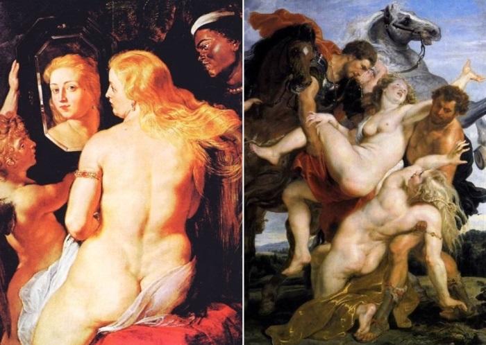 Питер Пауль Рубенс. Слева – Венера перед зеркалом, 1612. Справа – Похищение дочерей Левкиппа, ок. 1618 | Фото: rybens.ru