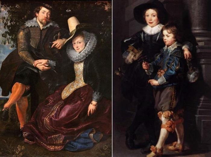 Рубенс. Слева – Автопортрет с женой Изабеллой Брандт, 1609. Справа – Сыновья художника Альберт и Николас, 1626-1627 | Фото: rybens.ru