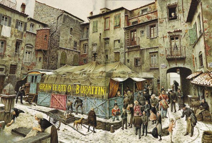 Иллюстрация Роберто Инноченти к сказке Коллоди