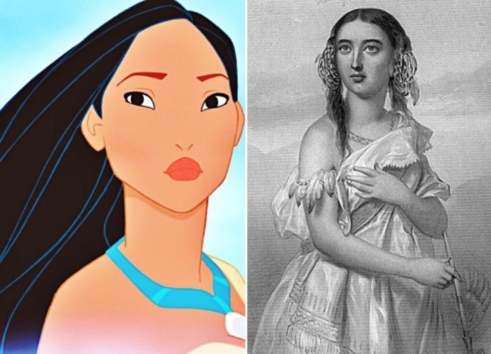 Покахонтас в мультфильме Диснея 1995 г. и на портрете 1883 г.