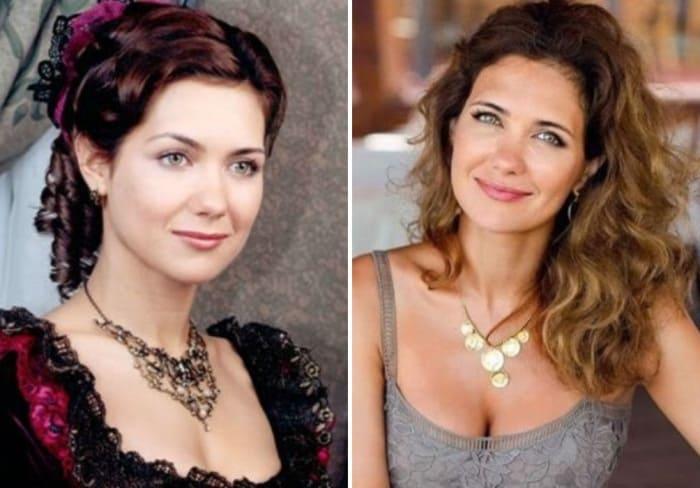 Екатерина Климова в сериале *Бедная Настя* и в наши дни   Фото: starhit.ru и 24smi.org