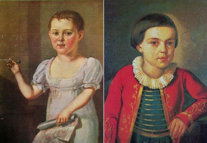 Неизвестный художник. Портреты М. Ю. Лермонтова в возрасте 3-4 лет, 1817-1818, и в возрасте 6-8 лет, 1820-1822